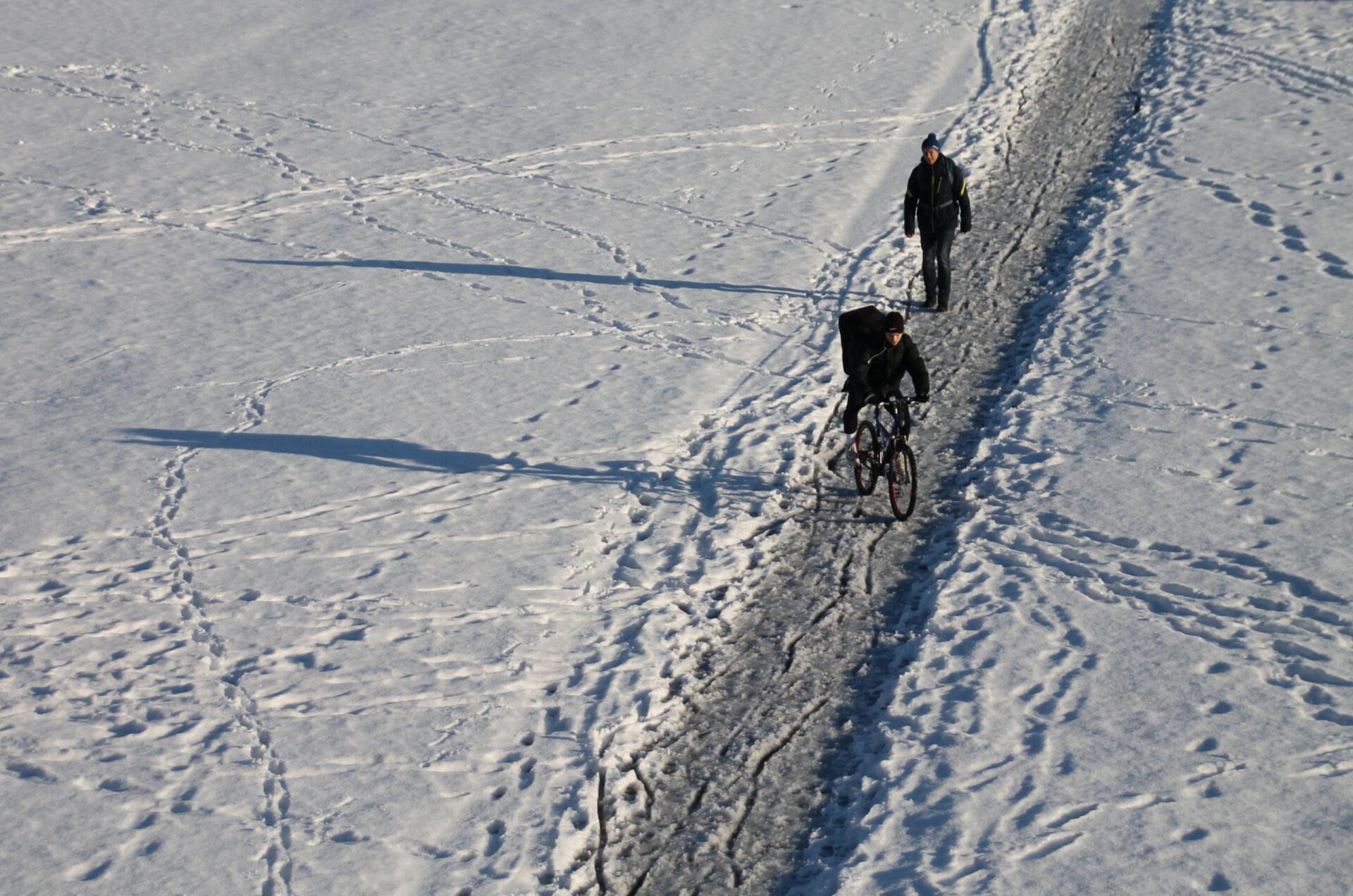 Зима ивелосипед